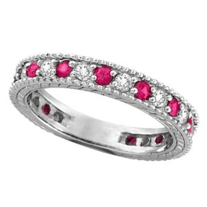Diamond and Pink Sapphire Ring Anniversary Band