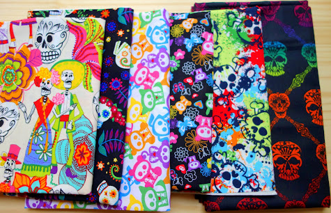 One fat quarter of each of my favorite skull fabrics from my personal Made with Moxie fabric collection.