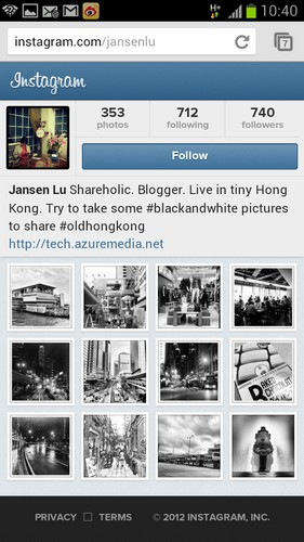 Instagram Mobile Web Interface. Instagram的Mobile Web介面