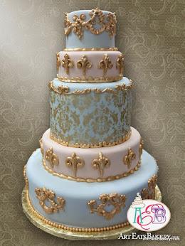 5 Tier Elegant Baroque Blue And Pink Ornate Fondant Wedding Cake With Gold Damask Pattern Flourishes Design