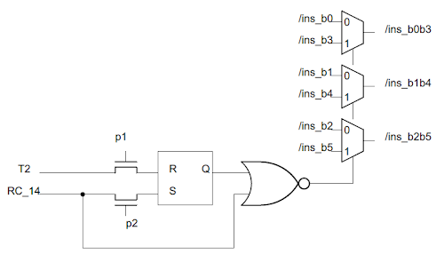 Schematic of the 8085 circuit to select the three register select bits.