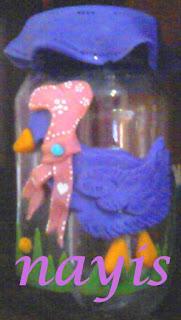 envase de vidrio alterado con decoracion en masa flexible con ganzo
