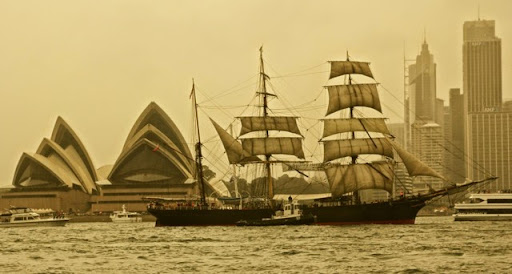 The restored clipper, the James Craig. Celebrating Australia Day in Sydney Harbour