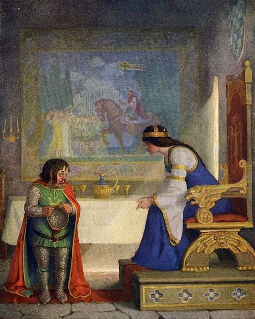 N. C. Wyeth - The lady Lyoness had the dwarf in examination, 1922