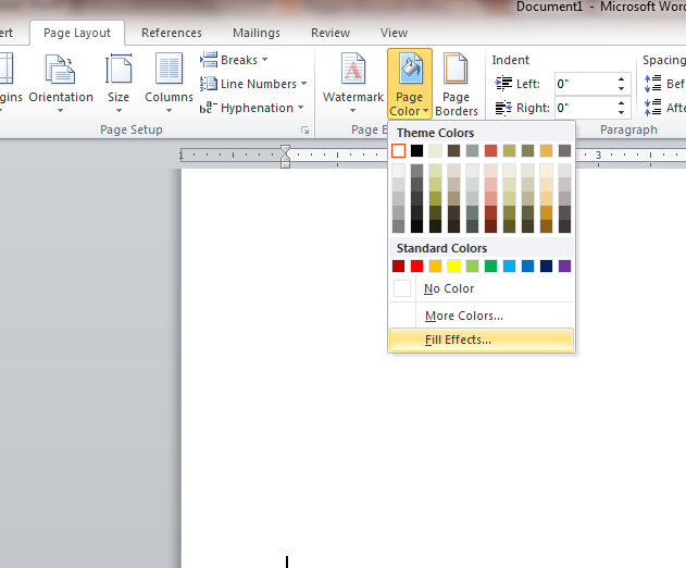 1 click on page layout menu and click on page color on page background ribbon 2 click on fill effects