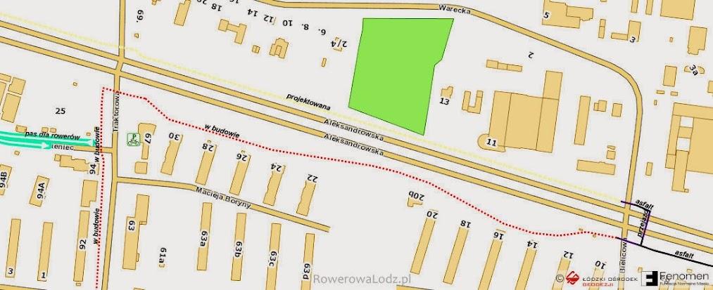 Mapa powstającego fragmentu rowerówki
