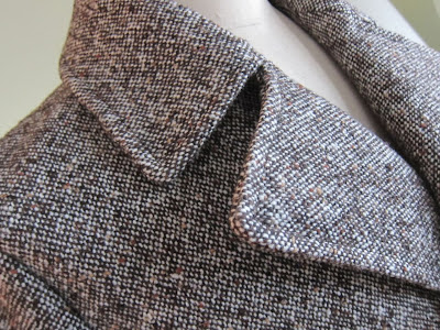 Men's classic pea coat made with Donegal tweed from Mood Fabrics NYC.