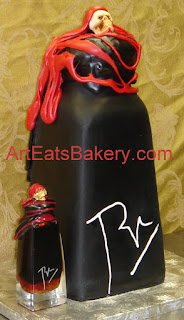 Blair's 2AM hot sauce bottle with scull and sugar wax 3D Groom's cake