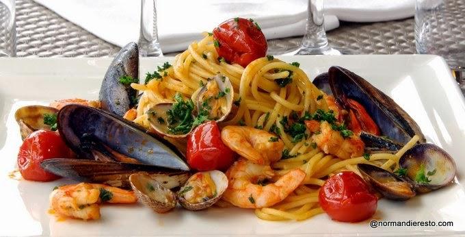 P�tes aux fruits de mer au restaurant italien au Havre