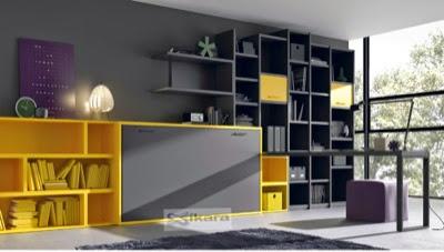 habitacion juvenil con cama plegable horizontal de 90