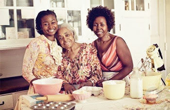 (L-R) Norrinda Brown Hayat, Betty Hinton, and Linda Hinton Brown in the kitchen.