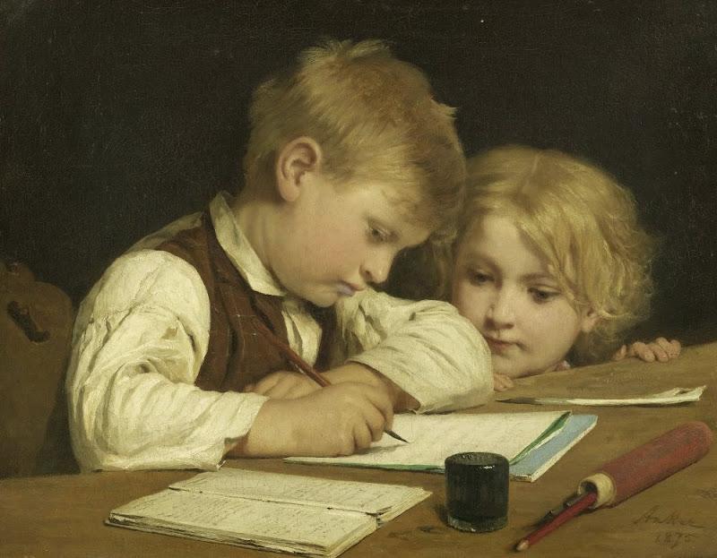 Albert Anker - Schreibender Knabe mit Schwesterchen