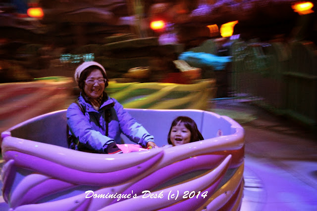 Tiger girl in the Tea Cup ride with Ah Ma