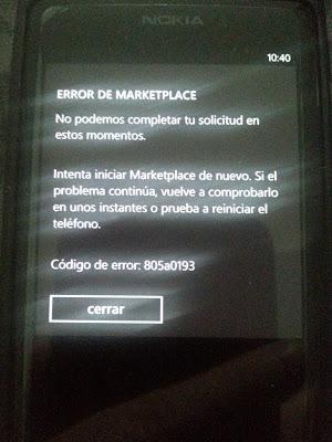 Error 805a0193 Windows Mobile