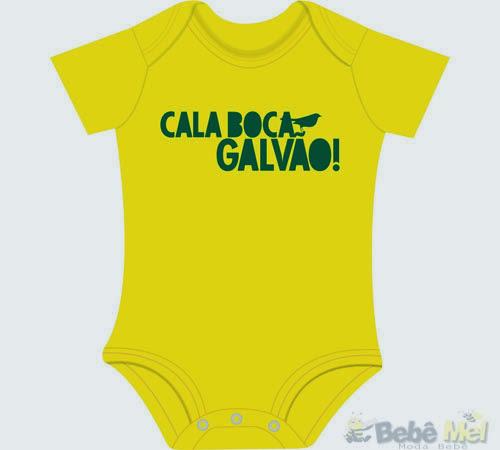 Body divertido para bebê tema Copa do Mundo - Calaboca Galvão