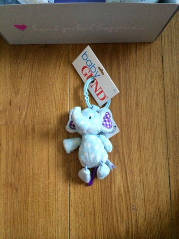 blue elephant toy to hang on a baby pram
