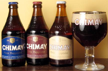Bruselas Valonia: Cerveza de abadia Chimay y sus tres variedades en sus respectivas botellas