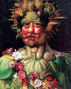 A portrait of Holy Roman Emperor Rudolf II, painted as Vertumnus, Roman God of the seasons, by Giuseppe Arcimboldo