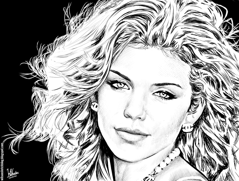 Ink drawing of Annalynne McCord, using Krita 2.4.