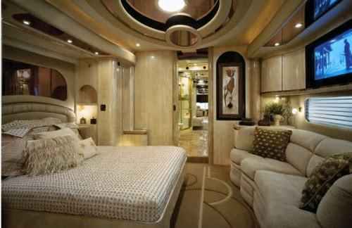 The luxuriously furnished five star bedroom on the world most expensive bus