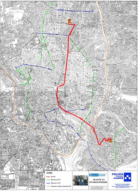 Cortes de tráfico y desvíos por la San Silvestre Vallecana 2012
