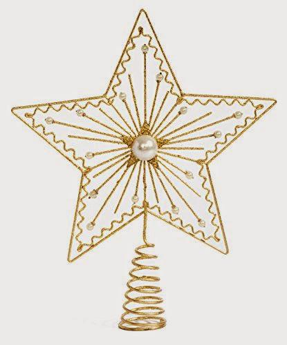 Christbaumspitze Glasspitze 25cm gold glänzend Weihnachtsbaumspitze