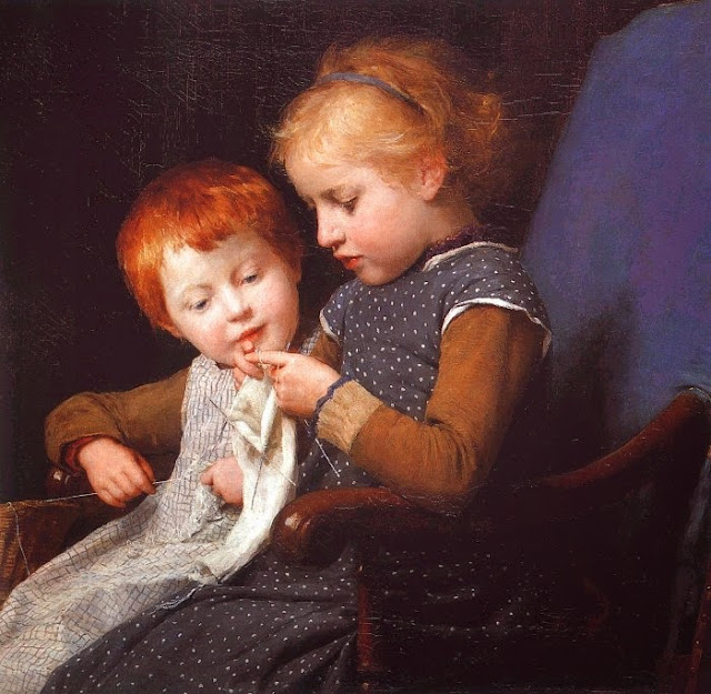 Albert Anker - The little knitters