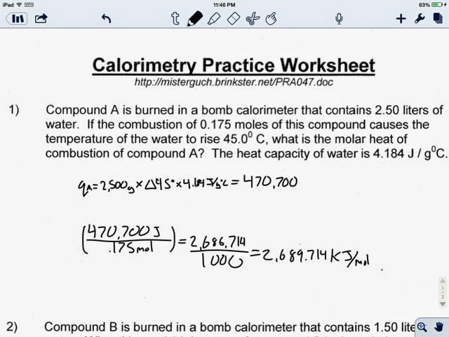 KennedyChem Calorimetry Practice Wkst part 1 – Calorimetry Worksheet