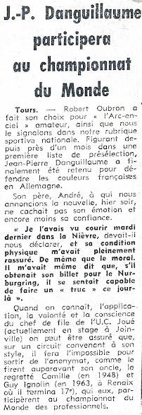 1966 - JP Danguillaume participera au championnat du Monde
