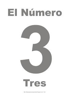 Lámina para imprimir el número tres en color gris