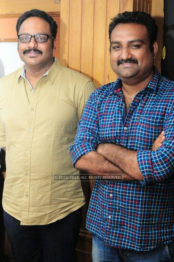 Shaji Nadesan and Shankar Ramakrishnan during the premiere of Ennu Ninte Moideen, in Trivandrum.