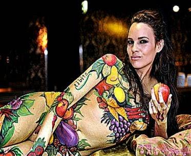 Body painted model promotes vegetarian week
