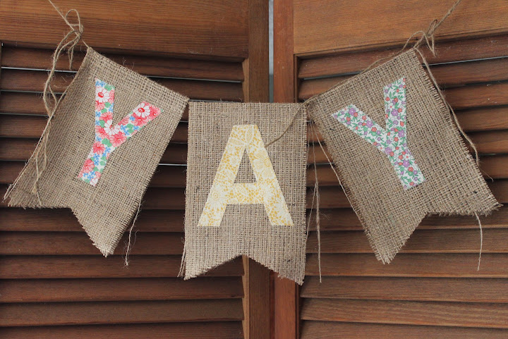 Burlap YAY bunting available for rent from www.momentarilyyours.com, $5.00.