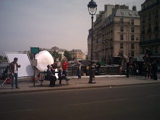 They were filming some sort of movie... I just might have to start watching French movies to see if I'm in it.
