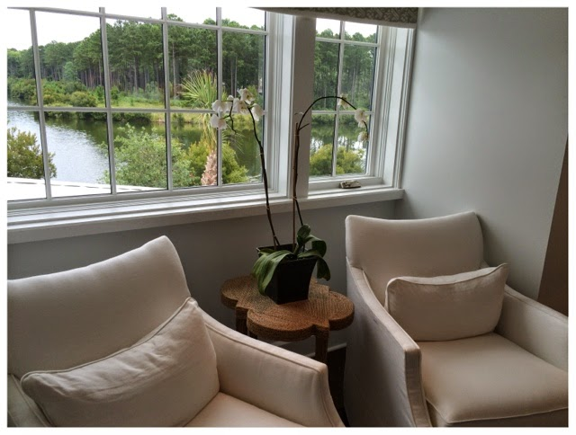 Cute little table and beautiful view from guest room.  2014 Southern Living Idea House in Palmetto Bluff, SC | The Lowcountry Lady