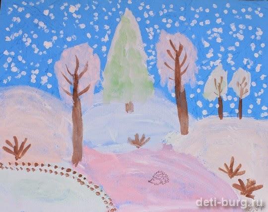 рисунок зимний лес