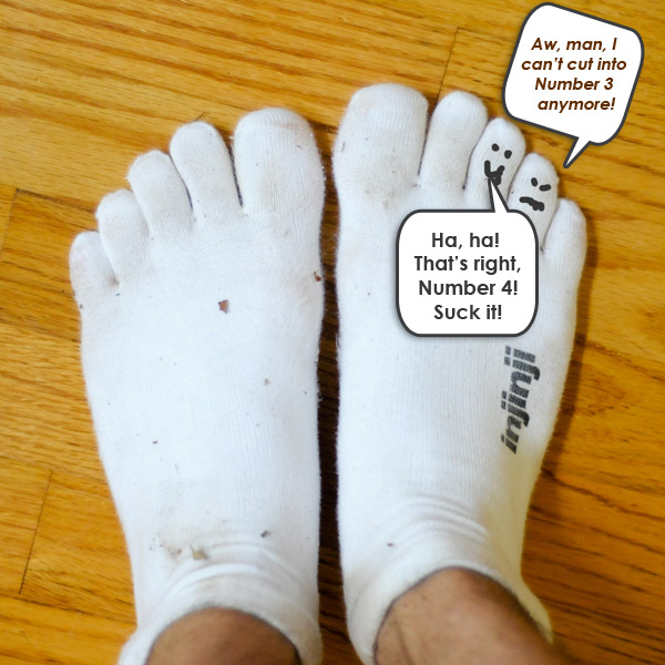 Injinji socks separate obtrusive toes.