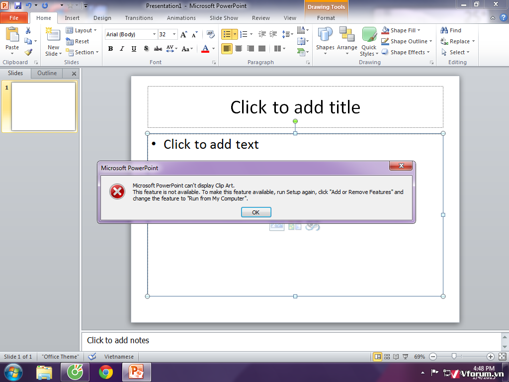 Microsoft Powerpoint 2010 Khong Chạy được Clip Art