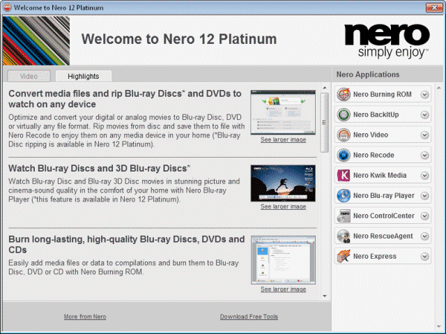 Screenshot of Nero 12 Platinum HD 12.5.01400 Retail + ContentPack CD DVD Tools PC Software Free Download at Alldownloads4u.Com