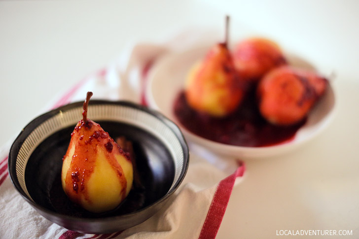 Beer Poached Pears Recipe with Raspberry Chocolate Sauce.