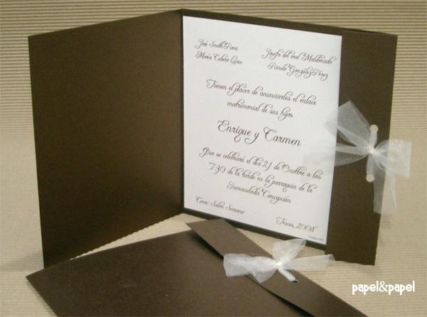 Invitación chocolate para boda