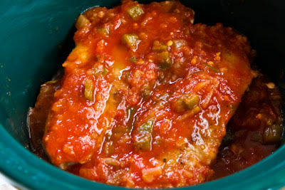 CrockPot Salsa Pork Chops with Cumin, Garlic, and Lime found on KalynsKitchen.com
