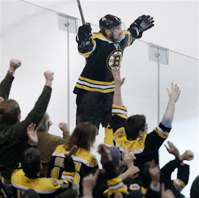 Bruins Brad Marchand celebrates scoring a goal