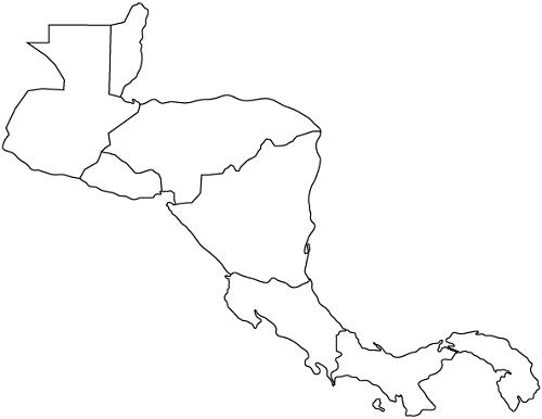 Mapa de Centroamérica para colorear sin nombres