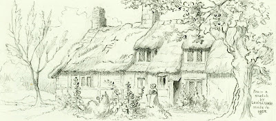 """ Mrs William Gall's mother lived in a cottage behind the Checkers Public House where she had a school for children and an oven for baking bread."" From A Record of Shelford Parva by Fanny Wale P41"