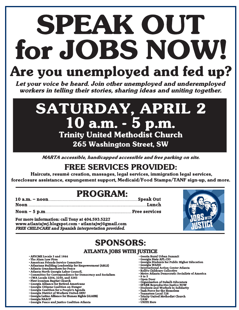 2011 atlanta jobs with justice april 2nd unemployment townhall event xflitez Choice Image