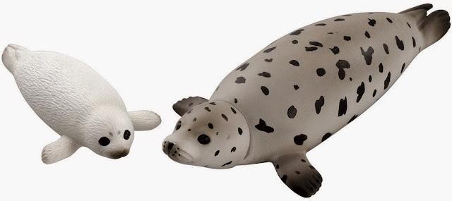 Mô hình Hai mẹ con nhà Hải Cẩu đốm Ania AS-22 Spotted Seal thật thú vị