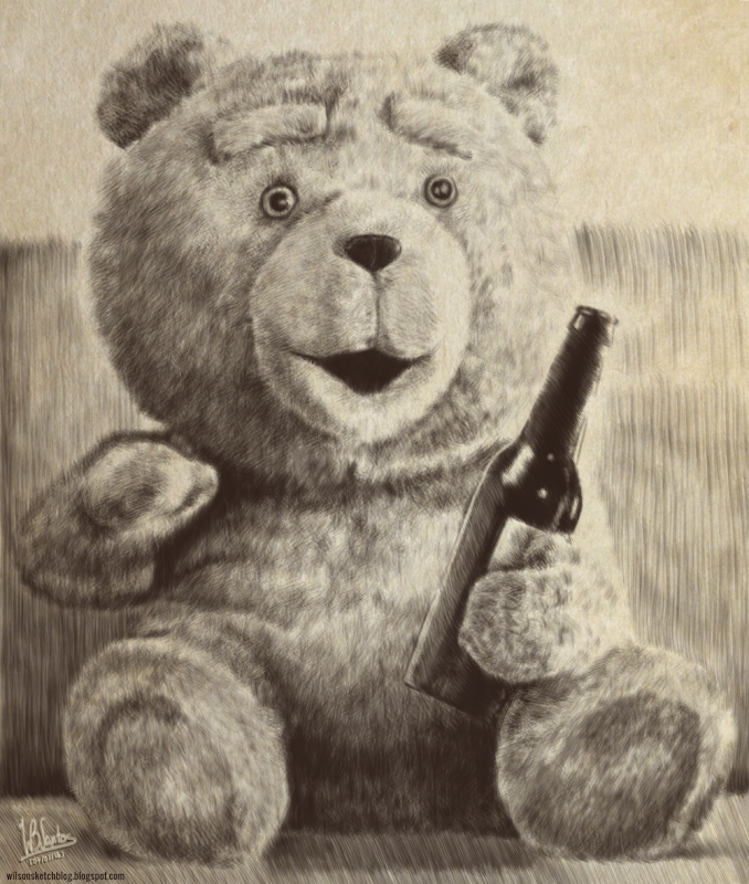 Drawing of Ted - the teddy bear, using Krita 2.5.