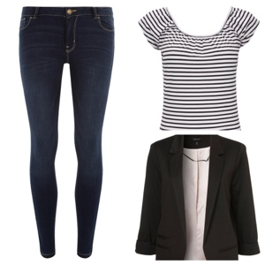 Taylor Swift's outfit- Jeans, stripy top and blazer
