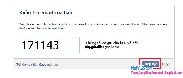 nhập dãy số xác minh email đổi mật khẩu facebook